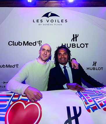 Maxime Büchi and Christian Karembeu at Les Voiles