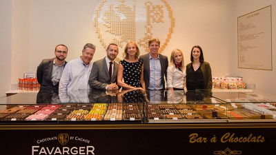 Inauguration du bar à chocolats boutique Favarger